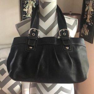 🎉 Coach Large Black Soho Leather Tote Bag